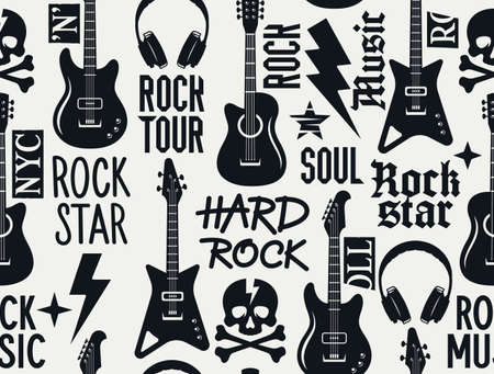 Trendy musical seamless pattern with guitars, skull and crossbones and other rock music symbols. Seamless rock music background