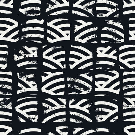 Grunge textured geometric seamless pattern. Vector background with striped pattern