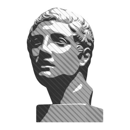 Vector illustration of hand drawn antique statue. Plaster bust of a young man