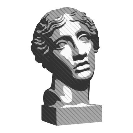 Vector illustration of hand drawn antique statue. Plaster bust of a young woman