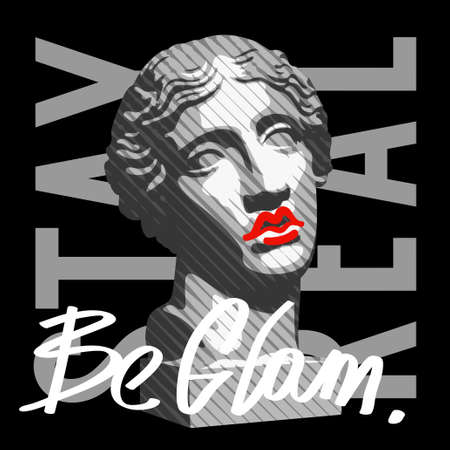 Female antique sculpture illustration with stay real slogan for t-shirt design 向量圖像