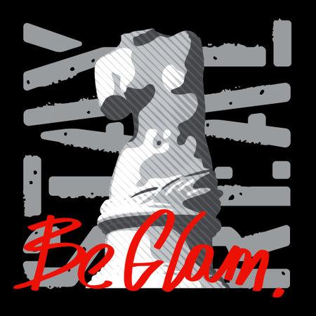Venus statue illustration with motivation quote for t-shirt design 向量圖像