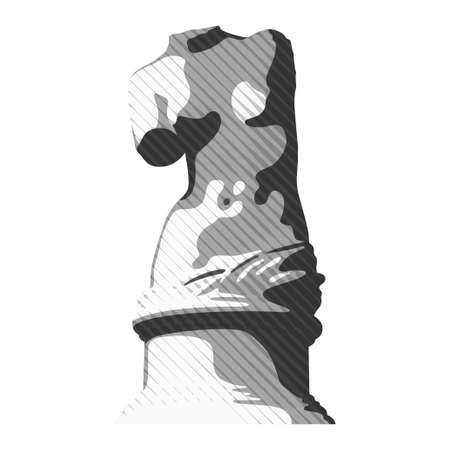 Vector illustration of Venus body statue. Plaster bust of a young woman