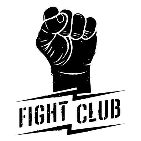 Fight club logo with fist vector illustration