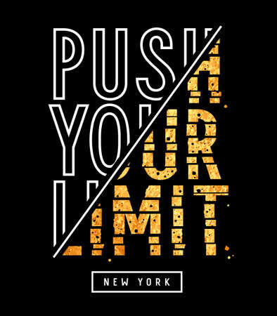 Push your limit slogan illustration with gold glitter effect for t-shirt design