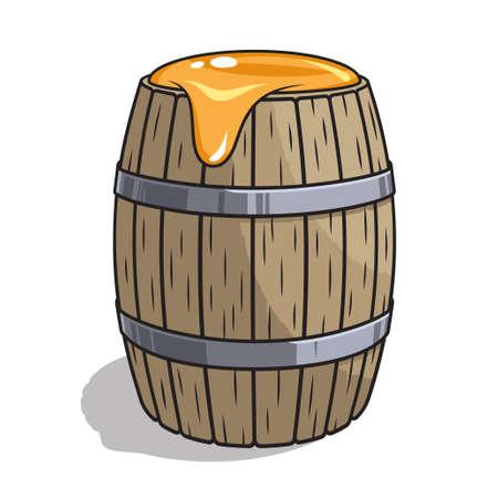 barrel of honey cartoon vector illustration 向量圖像