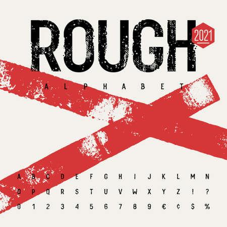 Grunge font. Rough stamp typeface. Grunge textured handmade alphabet. Vectors. Plus 3 grunge textures as a bonus