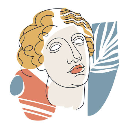 Minimalistic woman portrate. Vector illustration with woman's face in line art style, abstract shapes and palm leaves for poster, t-shirt print and other purposes 向量圖像