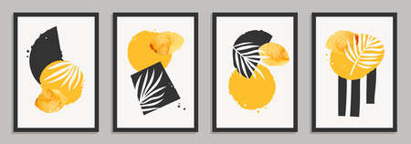 Abstract art in minimalistic style with simple geometric shapes, watercolor stains and plant elements