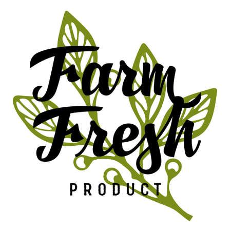 Farm Fresh calligraphy inscription. Concept idea for authentic design of farm store 向量圖像
