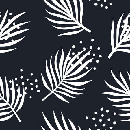 Seamless pattern with palm tree leaves. Trendy hand drawn background