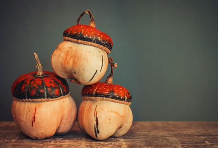 little pumpkins on wooden table isolated on dark background