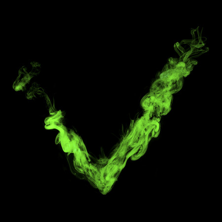 vote sign from green smoke on black Zdjęcie Seryjne