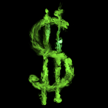 dollar sign from green smoke isolated on black