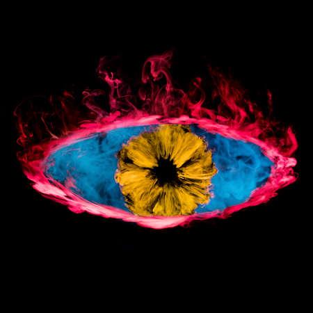 Abstract of smoking eye on black