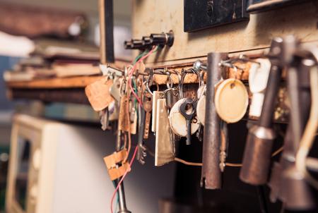 mess of vintage keys in line