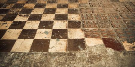 vintage chessboard tile floor