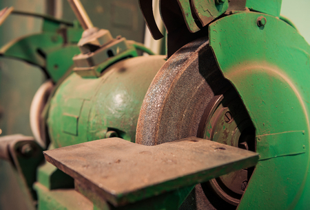 part of vintage metal processing machine in bad condition