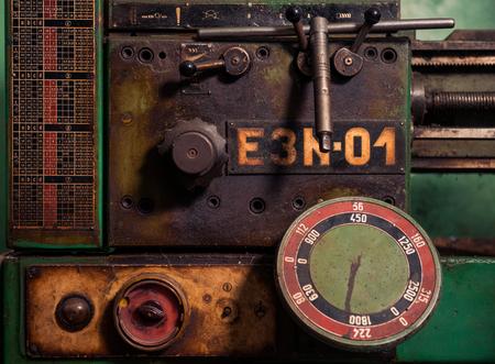 control panel of vintage metal processing machine