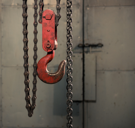 handle metallic chain with red hook