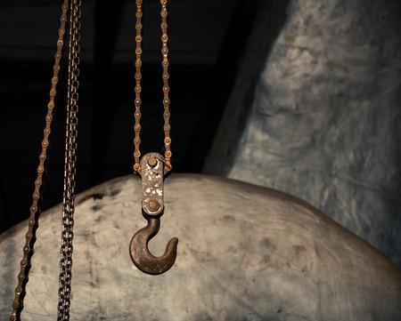 big iron hook with chains Standard-Bild