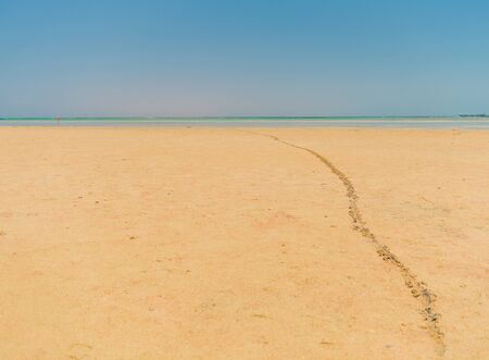 leading line from footprints on sandy beach
