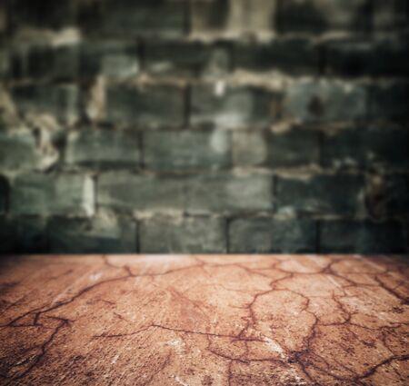 grunge urban stone floor and brick wall interior background Standard-Bild