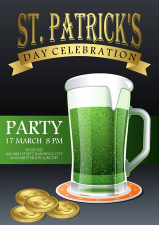 St. Patricks Day celebration party golden text on gray background with mug of green beer and Leprechauns gold coins treausure invitation, card, poster or flyer vector template