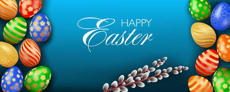 Pretty Happy Easter website header or banner template with multicolored realistic 3D eggs and willow trees on blue background top view Illustration