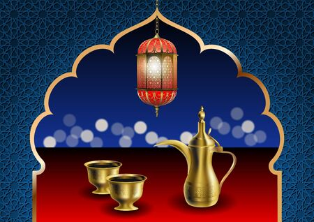 Ramadan iftar party food vector illustration. Traditional eastern dallah coffee pot with two cups of bitter coffee Khaleeji and arabic lantern. Oriental arch and ornament.