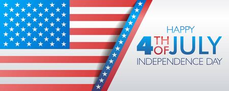Fourth of July Independence day banner or website header vector template with US flag