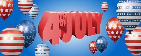 Independence day vector banner or website top template with 3D 4th of July text and realistic 3D balloons with stars and stripes on blue background Vectores