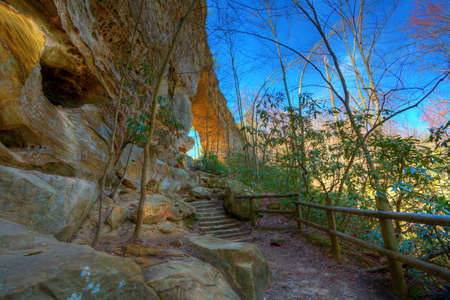 Sandstone arch in Natural Bridge State Park in Kentucky Stock Photo - 5556366