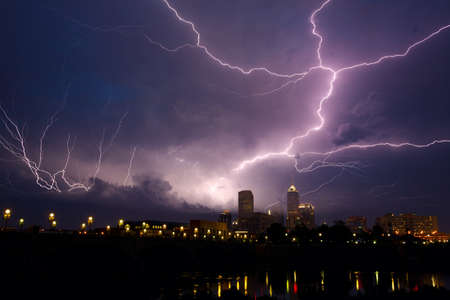 Storm over city photo