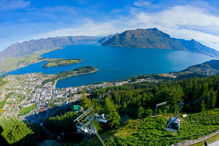 Queenstown and Lake Wakatipu in New Zealand