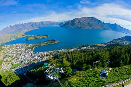 Queenstown and Lake Wakatipu in New Zealand
