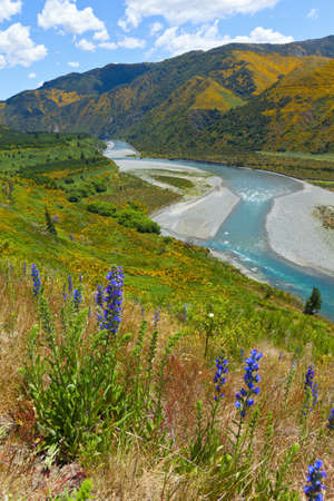 Scenic view from Lewis Pass in New Zealand  Banco de Imagens