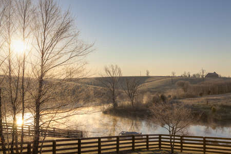 winter sunrise: Frosty morning Stock Photo