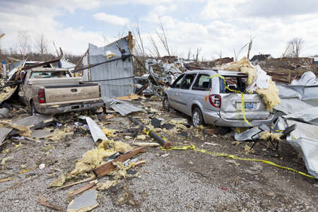 Henryville, IN – March 4, 2012: Aftermath of category 4 tornado that touched down in town on March 2, 2012 in Henryville, IN. 12 deaths and massive loss of property were reported in Indiana as results of series of tornados Stock Photo - 12469261