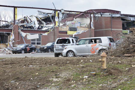 Henryville, IN – March 4, 2012: Aftermath of category 4 tornado that touched down in town on March 2, 2012 in Henryville, IN. 12 deaths and massive loss of property were reported in Indiana as results of series of tornados Stock Photo - 12469255