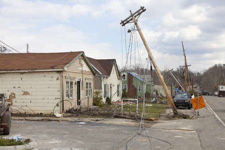 Henryville, IN – March 4, 2012: Aftermath of category 4 tornado that touched down in town on March 2, 2012 in Henryville, IN. 12 deaths and massive loss of property were reported in Indiana as results of series of tornados Stock Photo - 12469244