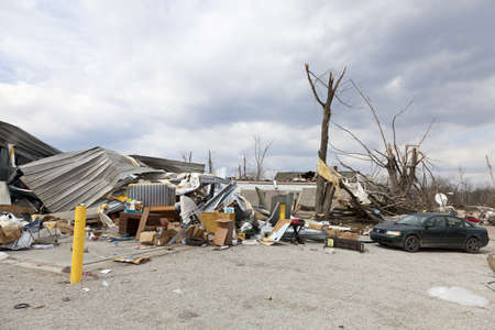 home destruction: Henryville, IN – March 4, 2012: Aftermath of category 4 tornado that touched down in town on March 2, 2012 in Henryville, IN. 12 deaths and massive loss of property were reported in Indiana as results of series of tornados