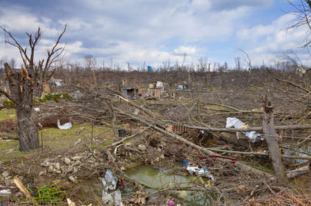 touched: Henryville, IN – March 4, 2012: Aftermath of category 4 tornado that touched down in town on March 2, 2012 in Henryville, IN. 12 deaths and massive loss of property were reported in Indiana as results of series of tornados