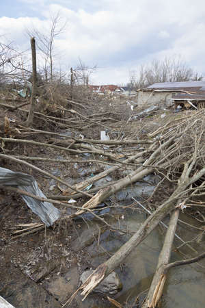 Henryville, IN – March 4, 2012: Aftermath of category 4 tornado that touched down in town on March 2, 2012 in Henryville, IN. 12 deaths and massive loss of property were reported in Indiana as results of series of tornados