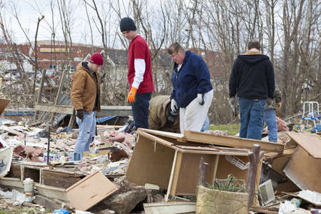 Henryville, IN – March 4, 2012: Aftermath of category 4 tornado that touched down in town on March 2, 2012 in Henryville, IN. 12 deaths and massive loss of property were reported in Indiana as results of series of tornados Stock Photo - 12469238