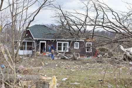 Henryville, IN – March 4, 2012: Aftermath of category 4 tornado that touched down in town on March 2, 2012 in Henryville, IN. 12 deaths and massive loss of property were reported in Indiana as results of series of tornados Stock Photo - 12488897