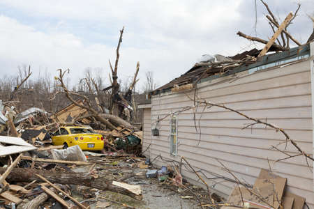 burried: Henryville, IN - March 4, 2012: Aftermath of category 4 tornado that touched down in town on March 2, 2012 in Henryville, IN. 12 deaths and massive loss of property were reported in Indiana  Editorial