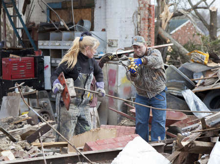 category: Henryville, IN - March 4, 2012: Aftermath of category 4 tornado that touched down in town on March 2, 2012 in Henryville, IN. 12 deaths and massive loss of property were reported in Indiana  Editorial