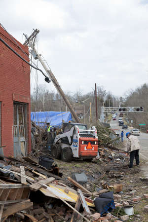 aftermath: Henryville, IN - March 4, 2012: Aftermath of category 4 tornado that touched down in town on March 2, 2012 in Henryville, IN. 12 deaths and massive loss of property were reported in Indiana  Editorial
