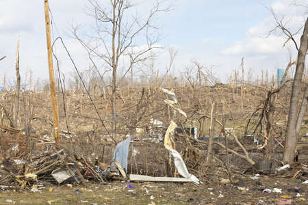 Henryville, IN - March 4, 2012: Aftermath of category 4 tornado that touched down in town on March 2, 2012 in Henryville, IN. 12 deaths and massive loss of property were reported in Indiana